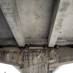 Corrosion is visible under the supports for the Bath viaduct seen last week. The Maine Department of Transportation says the bridge is still safe, but wooden blocks have been added to reinforce the support.