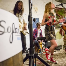 Amy & The Engine – from left, Vinny da Silva, Manuel Ruiz, Amy Allen and Luke Niccoli – performs in a recent Sofar Sounds concert at the Urban Farm Fermentory on Portland's Anderson Street.