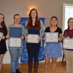 The Biddeford-Saco Rotary Club recently awarded winners of its annual essay contest. Each of the first-place winners received a certificate of recognition and a $100 cash prize. Pictured are top finishers (from left) Lizzie Owen, of Loranger Middle School; Jade Kruczek, of Saco Middle School; Kaitlyn Cox, of Thornton Academy Middle School; Jillian Greenleaf, of Biddeford Middle School; and McKenna Picard, of St. James School.