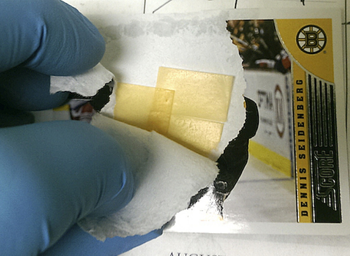 A Boston Bruins player card mailed to a York County Jail inmate contained a suboxone strip within the layers of paper.