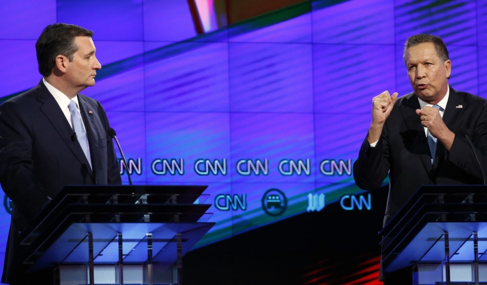 Ohio Gov. John Kasich, right, and Texas Sen. Ted Cruz take part in the Republican presidential debate March 10 at the University of Miami in Coral Gables, Fla.