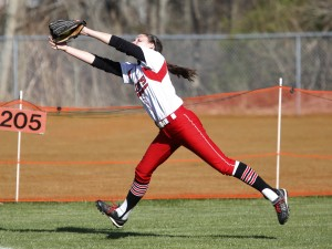 BIDDEFORD, ME - APRIL 29: Grace Rende of South Portland reaches to make the final out of the third inning at Biddeford's Rotary Park. (Photo by Derek Davis/Staff Photographer)