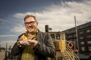 Midcoast chef Brian Hill, armed with a loaded hot dog on Portland's waterfront, was nominated for a James Beard Award.