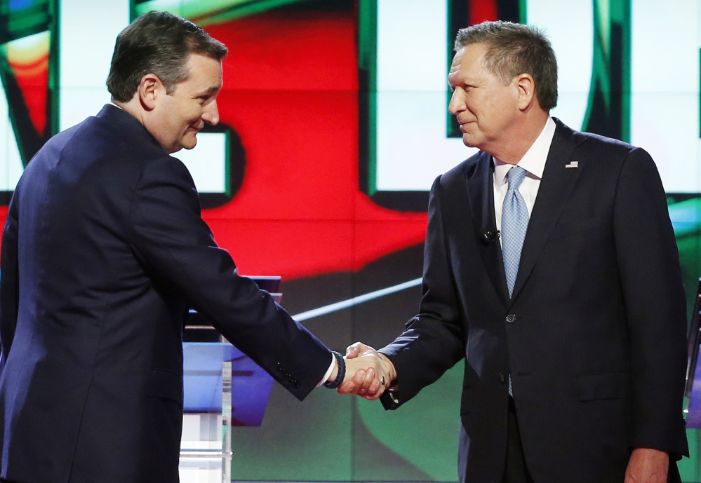 The unlikely alliance of Ted Cruz, left, and John Kasich may be unable to derail the Donald Trump bandwagon, which swept Tuesday's five primaries and bettered the brash billionaire's odds of capturing the 1,237 delegates necessary for a first-ballot victory.