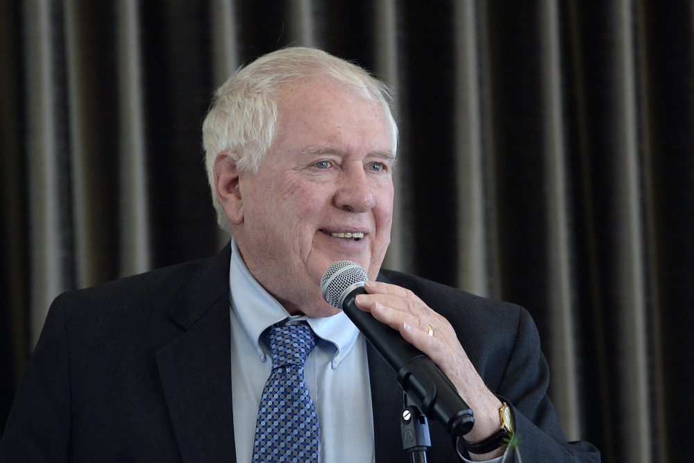 William Beardsley, seen speaking at a Maine Heritage Policy Center luncheon in April,  was made acting deputy education commissioner by Gov. Paul LePage. The governor says the position empowers Beardsley to act on behalf of the education department, but Maine superintendents say the lack of a permanent commissioner is a problem.