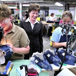 Sen. Susan Collins toured the New Balance factory in Norridgewock to see how footwear is made and to speak with employees.