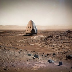 This artist rendering provided by SpaceX shows a capsule sitting on the surface of Mars. The mission is envisioned as the first step toward the goal of colonizing the red planet.