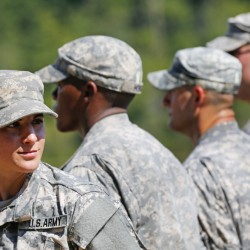 U.S. Army Capt. Kristen Griest at her Army Ranger School graduation ceremony last year. Thursday she graduates as the U.S. military's first female infantry officer.