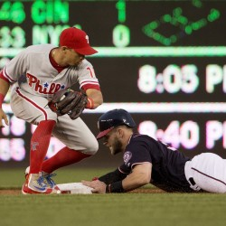 Washington's Bryce Harper steals second as he beats the tag by Philadelphia's Cesar Hernandez during the first inning of a 3-0 win by the Phillies at Washington on Wednesday.