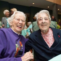 Clara Swan, right, was feted on the occasion of her 104th birthday at Husson University in Bangor on Thursday. Gov. Paul LePage canceled his scheduled appearance at the event.