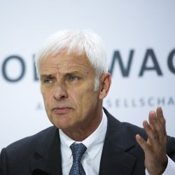 Volkswagen CEO Matthias Mueller speaks about the emissions scandal during the company's annual news conference in Wolfsburg, Germany, on Thursday.