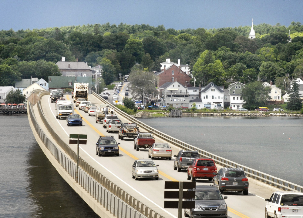 Traffic piles up along Route 1 in Wiscasset, where as many as 22,000 vehicles a day pass through during July and August.