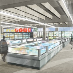 This artist's rendering shows the chilled- and frozen-foods sections of the Bellevue Square location of 365 by Whole Foods Market, outside of Seattle. Whole Foods is preparing for the launch of its new hipster grocery chain, which the company says will have a minimalist layout, affordable prices and third-party vendors who set up shop inside the stores.
