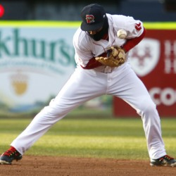 Wendell Rijo of the Sea Dogs bobbles a hard-hit ground ball in the fourth inning Friday night at Hadlock Field.