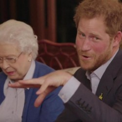 With help from his grandmother, Queen Elizabeth II, Prince Harry promotes the upcoming Invictus Games Friday at Kensington Palace in London.