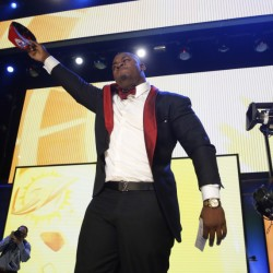 Mississippi State defenseive tackle Chris Jones celebrates after being selected by the Kansas City Chiefs as the 37th overall pick in the second round of the NFL draft.
