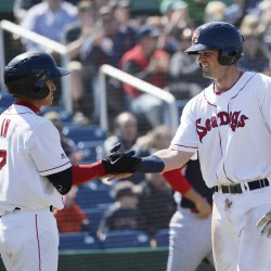 Portland's Jordan Betts, right, is congratulated by teammate Tzu-Wei Lin after Betts scored for the Sea Dogs against the Reading Fightin Phils on Saturday. The Sea Dogs won, 6-3. (Photo by Shawn Patrick Ouellette/Staff Photographer)