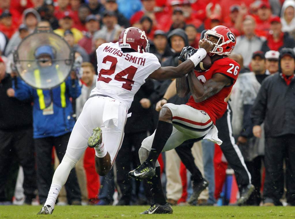 4TH ROUND (112): Georgia wide receiver Malcolm Mitchell, making a catch against Alabama, was selected by the Pats Saturday in the fourth round. The Associated Press