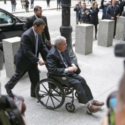 Former House Speaker Dennis Hastert arrives at the federal courthouse Wednesday in Chicago for his sentencing on federal banking charges. The Associated Press