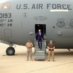 Vice President Joe Biden steps off a C-17 military transport plane upon his arrival in Baghdad on Thursday.