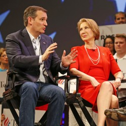 Republican presidential candidate Ted Cruz talks with Carly Fiorina at a March 11, 2016, campaign appearance in Orlando, Fla. The 61-year-old Fiorina, a former chief executive of Hewlett-Packard, has been a prominent Cruz ally since shortly after abandoning her own presidential bid earlier in the year. The Associated Press