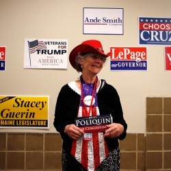 Joyce Fernald of Franklin shows her support for U.S. Rep. Bruce Poliquin, R-Maine, at the state Republican convention Friday in Bangor.