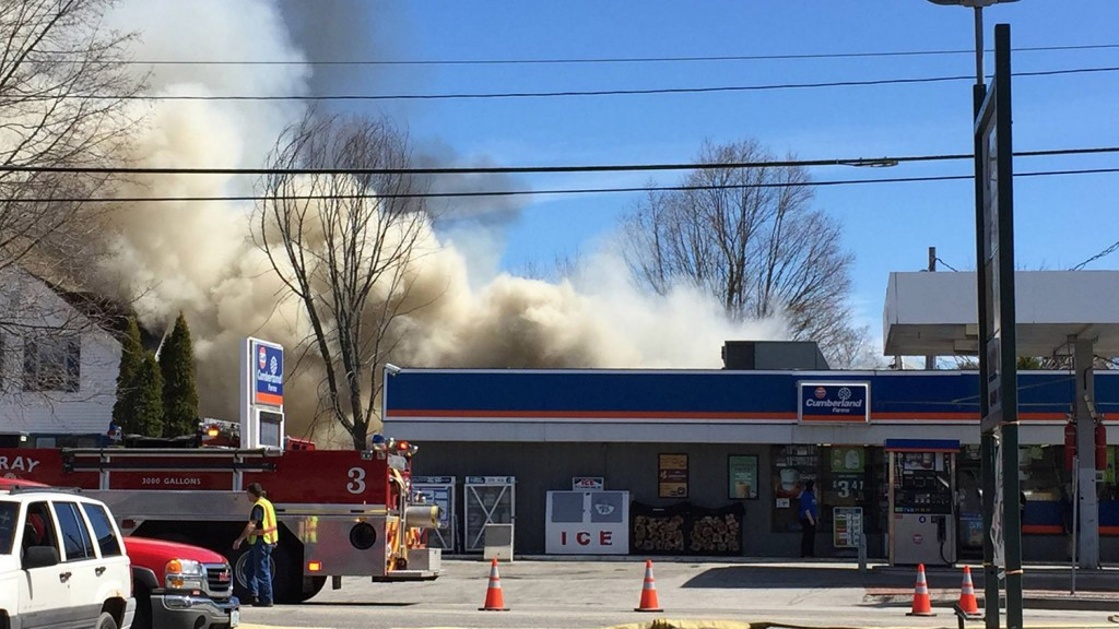 A fire at 8 Main St. in Gray prompted police to close Route 100 to traffic on Thursday.
