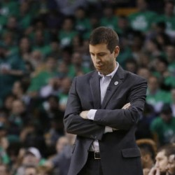 Boston Celtics Coach Brad Stevens reacts on the sideline during the third quarter against the Atlanta Hawks in Game 6 Thursday night. The Associated Press