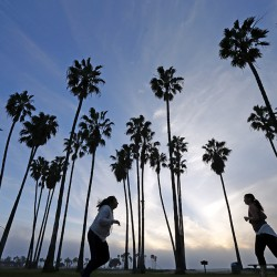 Women run as the sun sets in San Diego recently. White women have lost about five weeks from their predicted lifespan in 2014, compared to 2013, according to the CDC. The Associated Press