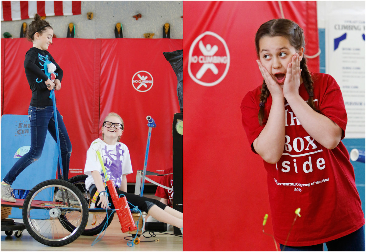 """At left: Desjardins and Seavey demonstrate their people-powered vehicle. Two teams of fifth graders, 14 students in all, designed and built vehicles without pedaling for propulsion as part of the problem-solving competition. At right: Ella Romano reacts while rehearsing her team's production """"No-cycle, Recycle."""""""