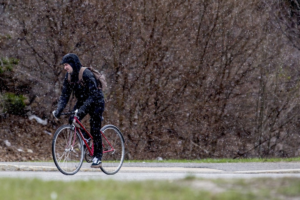 A bicyclist braces against early morning snow showers during a ride up Portland's Preble Street Tuesday, Gabe Souza/Staff Photographer