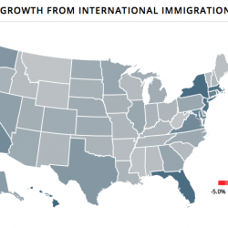 Population growth from international migration: interactive map screenshot.