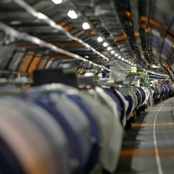 The Large Hadron Collider, shown in its tunnel at the European Particle Physics Laboratory, CERN, near Geneva, Switzerland, is one of the physics world's most complex machines. It has been immobilized – temporarily – by a weasel. Keystone via AP
