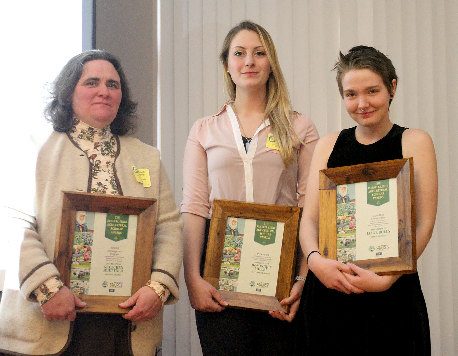 Receiving the Russell Libby Scholarships, from left, were Gretchen Huettner, Dominique Miller and Liane Rolls. The scholarships were presented Wednesday night as part of the Maine Sunday Telegram 2016 Source Awards.