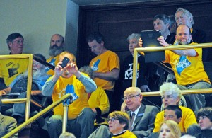 A standing-room-only crowd filled the House gallery to watch the vote on overriding the governor's veto of a solar energy bill on Friday at the State House in Augusta.