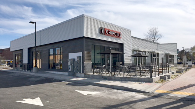 The first Chipotle Mexican Grill in Portland opened April 17 at 45 Marginal Way, the former site of Century Tire.