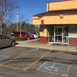 The scene outside Denny's on Brighton Avenue where a stabbing took place in the parking lot just outside the entrance early Thursday morning. Photo by Matt Byrne/Staff Writer