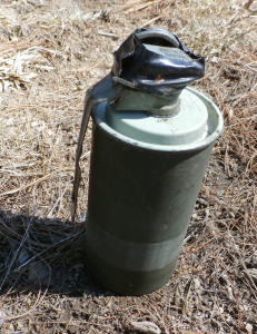 A smoke grenade was found on Route 11 in Limington. Photo courtesy of the York County Sheriff's Office