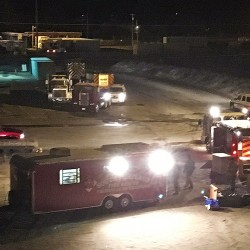 Members of South Portland's hazmat regional response team investigate the scene of a chlorine leak Wednesday morning at Rigby Yard. The department has two hazmat trailers – one for response and the other for decontamination operations. Photo courtesy WCSH