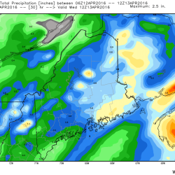 Tuesday's Projected Rainfall (Courtesy-WeatherBell)