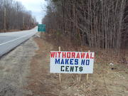 A sign on Route 136 in Freeport, just before the Durham town line, expresses one opinion on the issue of withdrawal from RSU 5, which Durham voters will decide on April 1.
