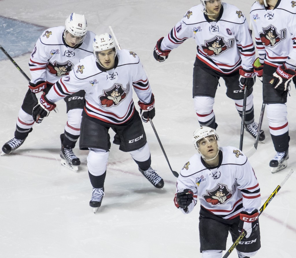 PORTLAND, ME - JANUARY 27: Rocco Grimaldi (cq) of the Portland Pirates looks skyward in thanks as he leads his teammates toward the bench to celebrate after scoring on a power play goal in the second period of an AHL game vs. the St. John's Ice Caps at the Cross Insurance Arena Wednesday, January 27, 2016. (Photo by Gabe Souza/Staff Photographer)