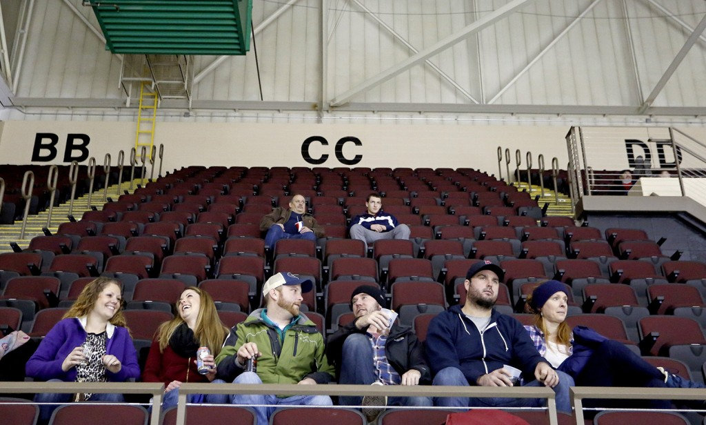 PORTLAND, ME - JANUARY 2: Only a few fans dot one of the mostly empty sections at a Portland Pirates game at the Cross Insurance Arena, Friday, January 2, 2015. (Photo by Gabe Souza/Staff Photographer)