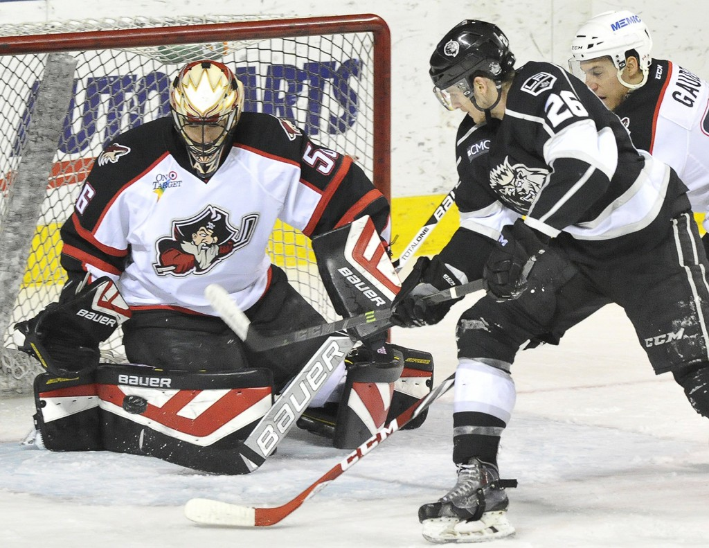 PORTLAND, ME - APRIL 3: The Portland Pirates host the Manchester Monarchs at the Cross Insurance Arena in Portland. (Photo by John Patriquin/Staff Photographer)