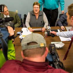 SAD 6 board chair Rebecca Bowley talks to reporters Monday after announcing the resignation of superintendent Frank Sherburne.