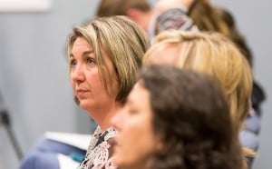 Amanda Cooper, who last week filed a complaint with the Maine Department of Education last week asking it to investigate the SAD 6 superintendent, waits Monday during a lengthy series of executive sessions by the school board.