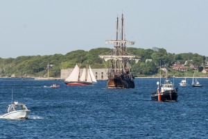 The El Galeon navigates through traffic on Casco Bay late Friday on its way to the Maine Wharf, where the public will be able to tour the tall ship.