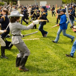 Fifth-graders from the Harriet Beecher Stowe School in Brunswick re-enact Pickett's Charge, the third day of fighting at Gettysburg in July of 1863. The school has staged a re-enactment, based on classroom study, on the Friday before Memorial Day weekend for 20 the last years.