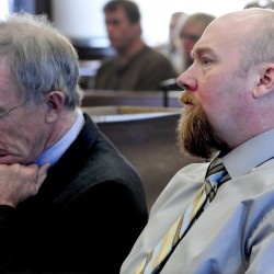 Robert Nelson, right, listens to opening statements in his 2012 trial in the death of Everett Cameron in Somerset Superior Court in Skowhegan. At left is attorney John Alsop. Nelson, representing himself, is asking in U.S. District Court in Bangor that his conviction be overturned.