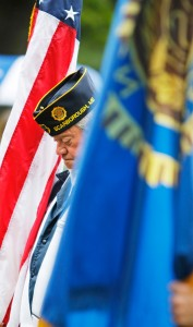 Steve Crocker of American Legion Post 76, bows his head in a moment of silence during a brief Memorial Day service at Black Point Cemetery in Scarborough.